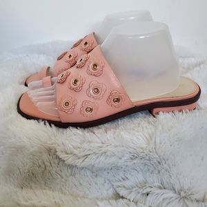 Cole Haan Carly Pink Leather Flower Slide Sandals